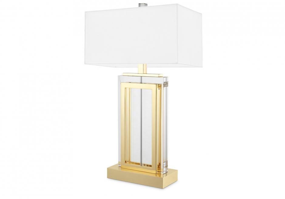 Nachttischlampe Arlington Kristall Gold Weiß
