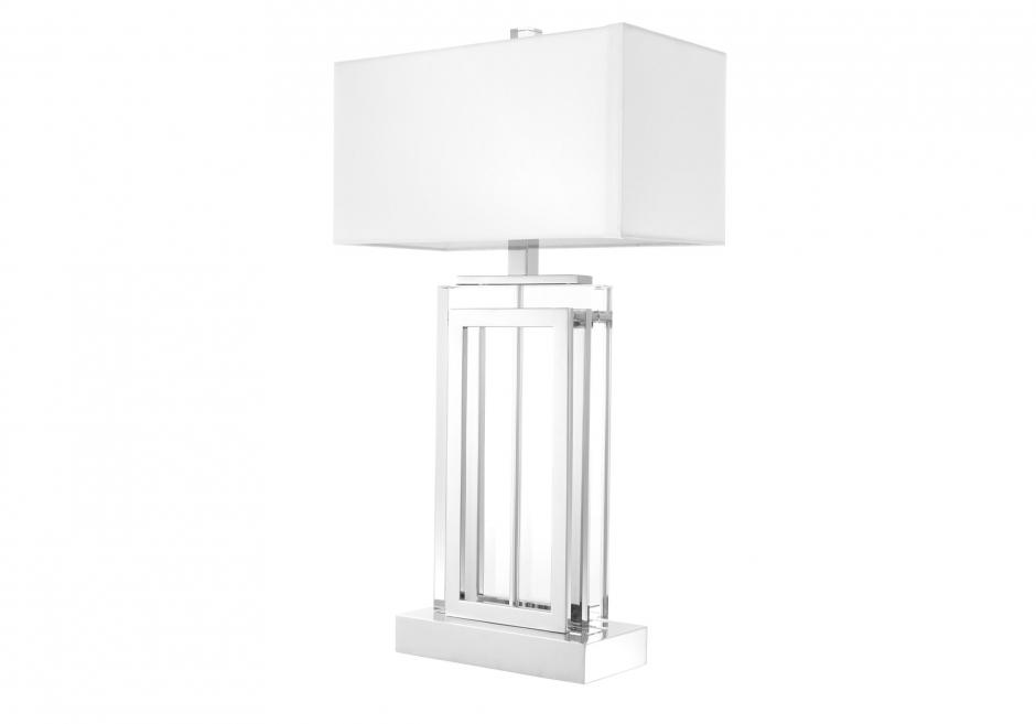 Nachttischlampe Arlington Kristall Silber Weiß