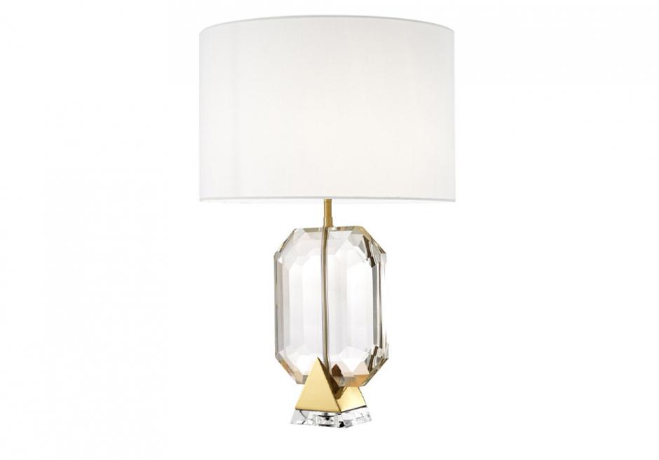 Nachttischlampe Emerald Gold Weiß